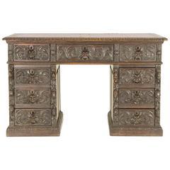 Antique Scottish Victorian Heavily Carved Oak Desk, Double Pedestal Desk