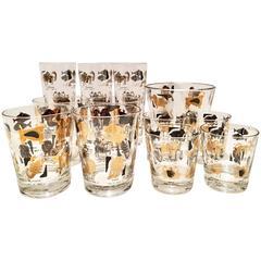"""Vintage 22-Karat Gold and Black """"Zodiac"""" Drink Glasses, Set of 12"""
