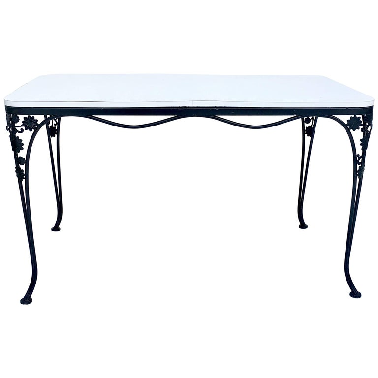 Mid-Century Iron Floral & Vine Dining Table By, Woodard For Sale