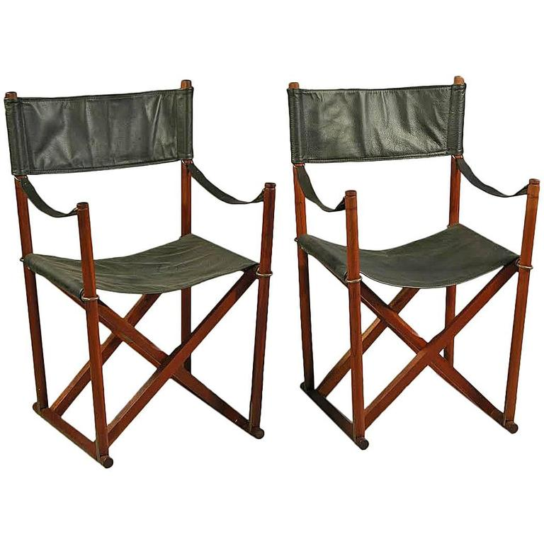 1930s Mogens Koch MK-16 Safari Folding Chairs in Teak, Brass and Black Leather