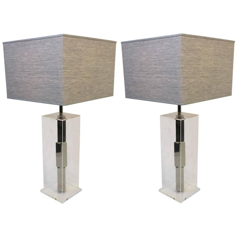 Acrylic and Chrome Table Lamps by Laurel
