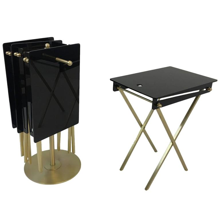 Set Of Four Brass And Acrylic Cocktail Tray Tables By