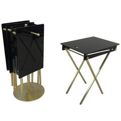 Set of Four Brass and Acrylic Cocktail Tray Tables by Charles Hollis Jones