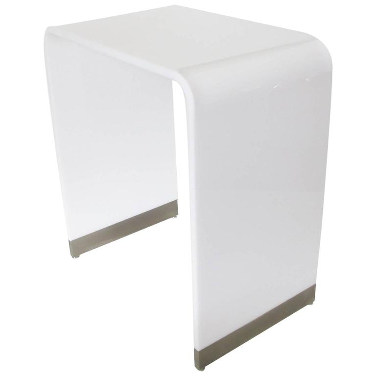 White Waterfall Tables ~ Mid century modernist white acrylic lucite waterfall tall