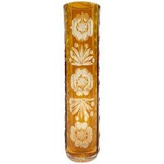 20th Century Bohemia Crystal Cut To Color Bud Vase