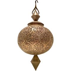 Mid-Century Moroccan Handmade Large Brass Pendant Lantern