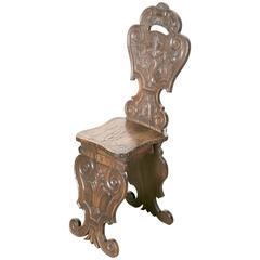 18th Century Italian Walnut Sgabello Hall Chair