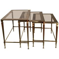 Superior Set Of Brass And Mirrored Glass Maison Jansen Nesting Tables