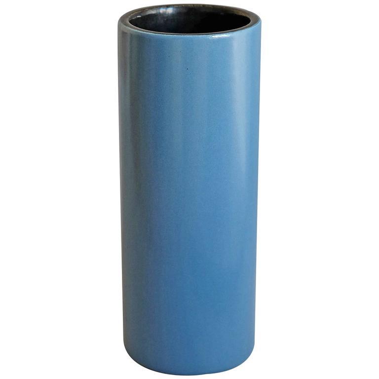 Georges Jouve, a Blue Cylinder Vase, circa 1960