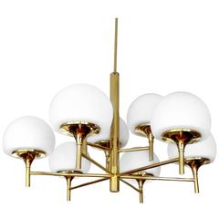 Large 9-Lights Kaiser Brass Sputnik Chandelier Pendant Light, 1960s