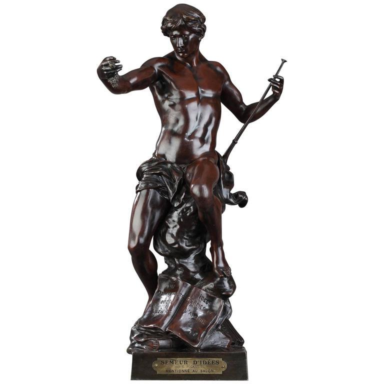 "Bronze Sculpture ""The Sower of Ideas"" by Émile Louis Picault, French, 1833-1915"