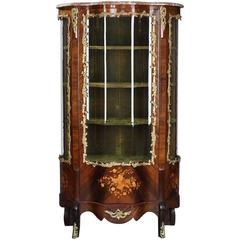 Napoleon III Showcase with Floral Marquetry in Louis XV Style