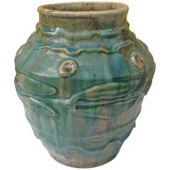 1900s Green and Yellow Glazed Ceramic Vase by Pierre-Adrien Dalpayrat