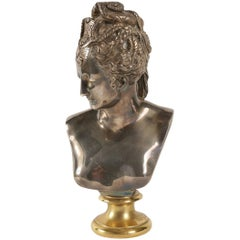 Buste of Diane in Bronze and Silver, Beginning of the 20th Century