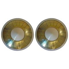 Late 20th Century Space Age Pair of Brass & White Opaline Glass Sconces