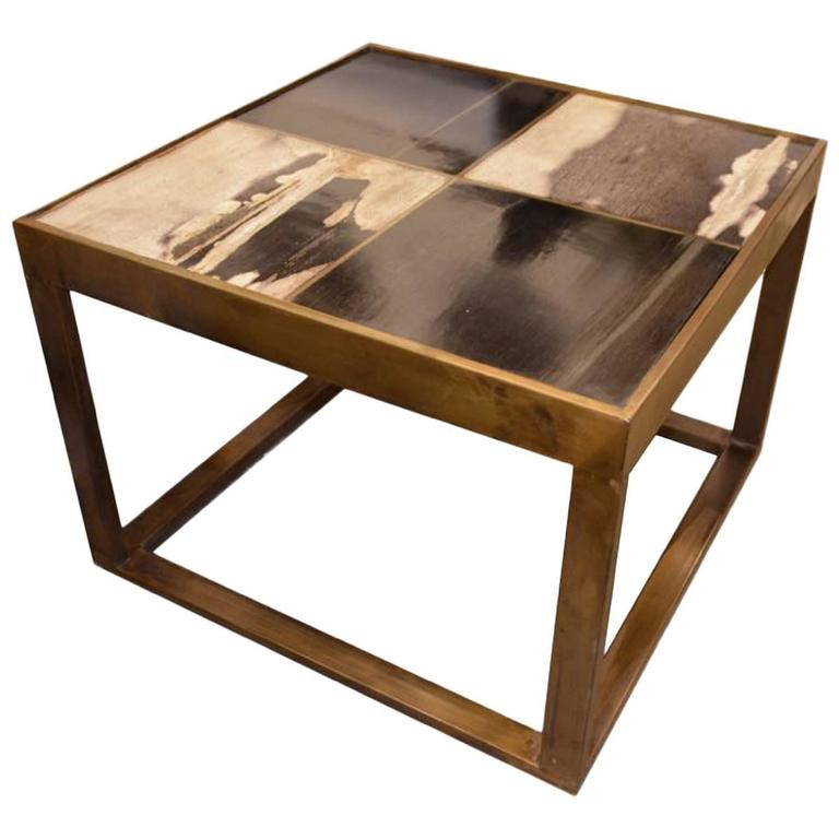 Andrianna Shamaris Bronze and Petrified Wood Side Table
