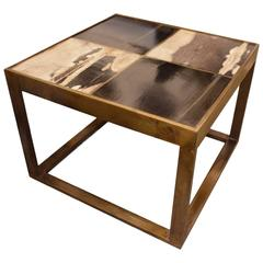 Bronze and Petrified Wood Side Table