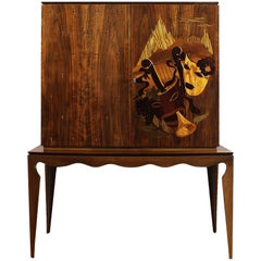 1940´s Small Two Blocks Dry Bar, walnut, allegorical scene marquetry - Italy