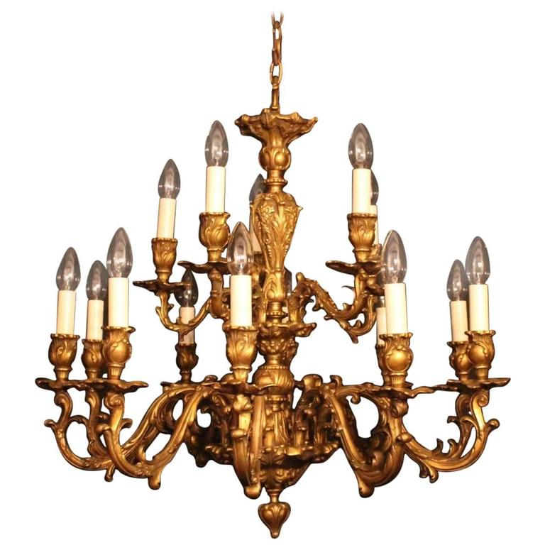 Italian Bronze Fifteen Light Double Tiered Antique