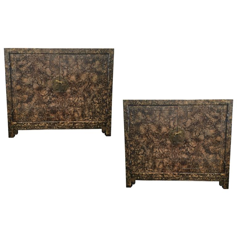 Pair of Faux Tortoise Shell with Lacquer Finish Cabinets by Henredon