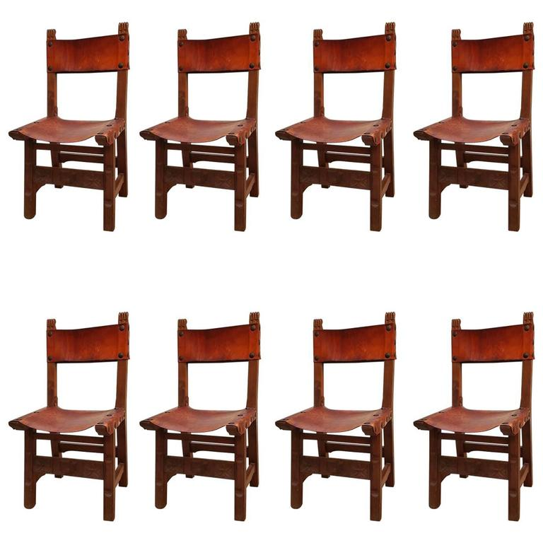 Spanish Style Dining Room Furniture: Set Of Eight Spanish Colonial Style Dining Chairs At 1stdibs