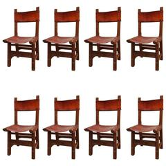Set of Eight Spanish Colonial Style Dining Chairs