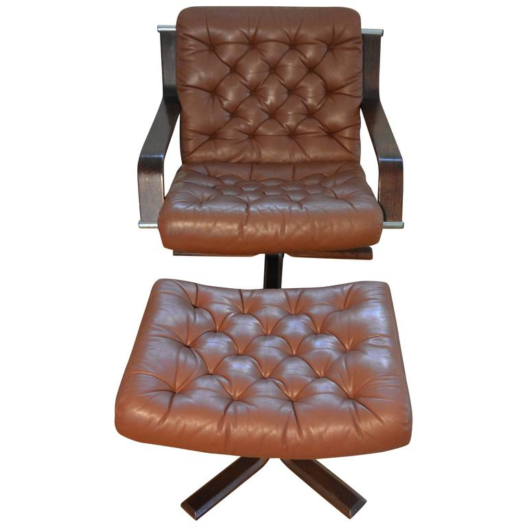 Rare Cognac Leather Norwegian Woodman Swivel Chair by Sigurd Ressell For Sale  sc 1 st  1stDibs & Rare Cognac Leather Norwegian Woodman Swivel Chair by Sigurd Ressell ...