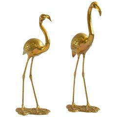 Large Pair of Brass Flamingos