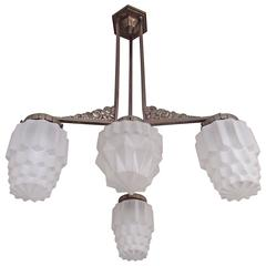 Art Deco Chandelier Geometric & Floral Nickel Holder and Geometric Satined Glass