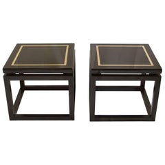 Pair of Black Lacquer Side Tables