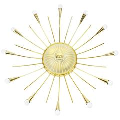 Huge Sunburst Brass & Glass Chandelier, Stilnovo Style, 1950s