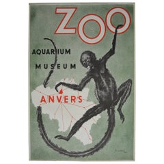 Affiche Zoo of Antwerp with Monkey by R.Landois , 1954, Belgium