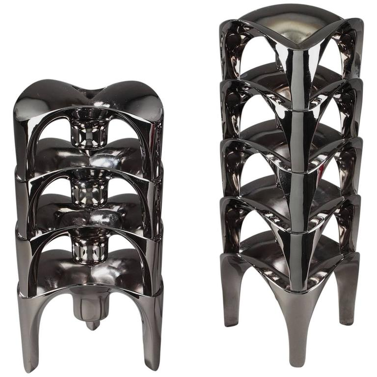 20th Century Set of 9 Modular Chromed Metal Candleholders by NAGEL, Germany