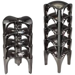 Set of 9 Modular Chromed Metal Candleholders by NAGEL, Germany
