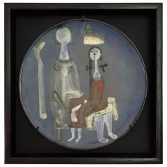 Framed Ceramic Dish by Jacques Innocenti