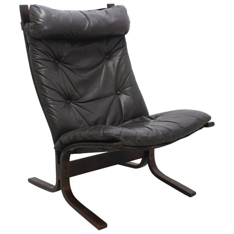 Brown Leather Lounge Chair Siesta by Ingmar Relling Norway, circa 1965