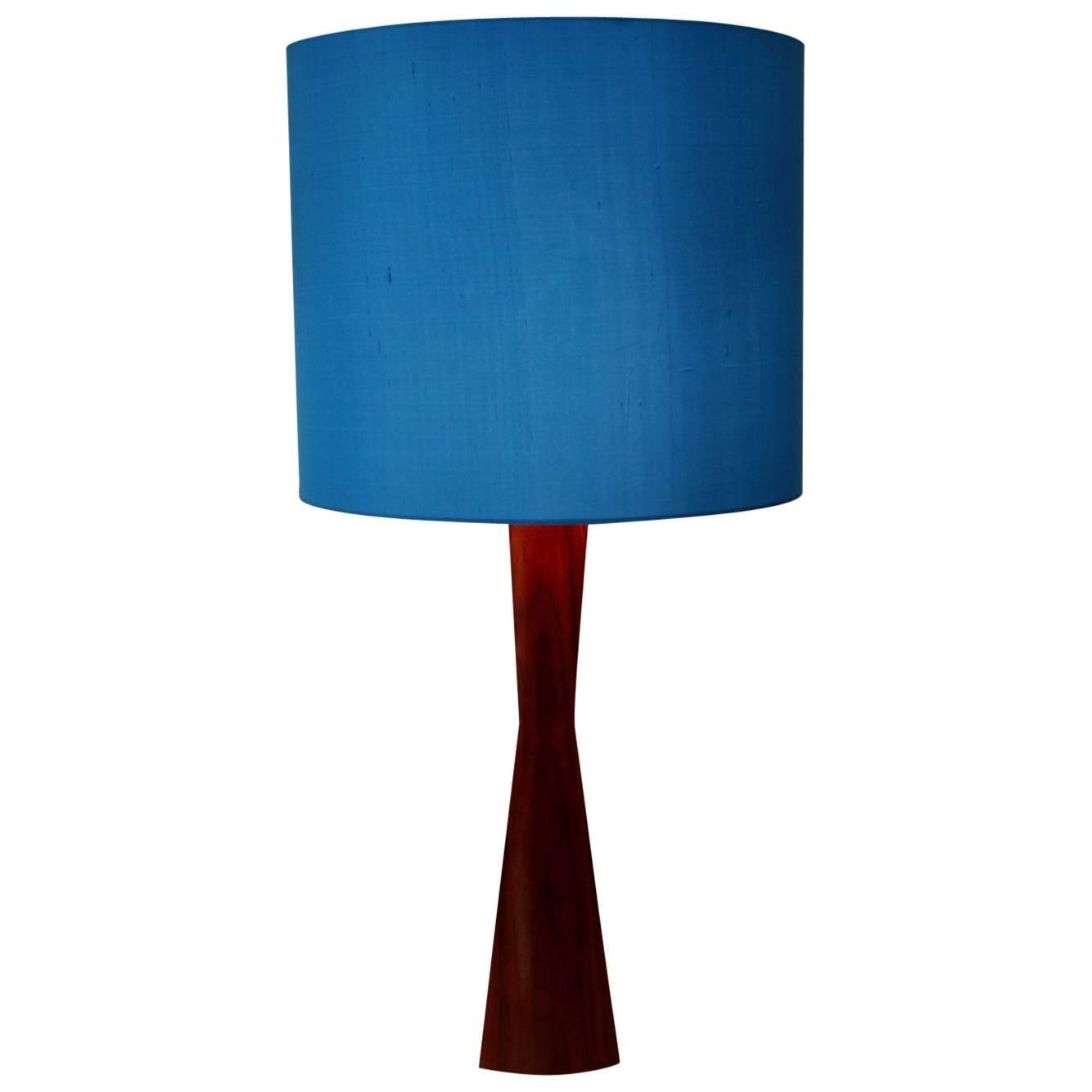 Scandinavian Modern Teak Blue Table Lamp or Floor Lamp, 1960s, Denmark