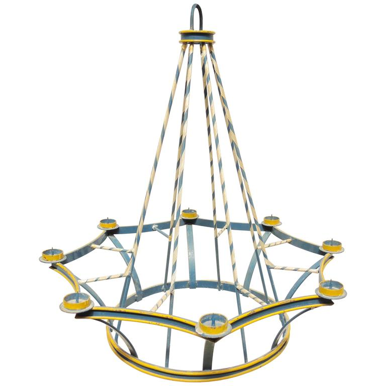 Swedish Painted Blue Wrought Iron Midsummer's Eve Festival Chandelier For Sale
