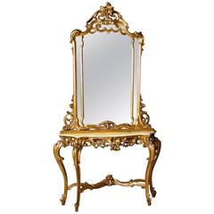 20th Century Italian Console Table with Mirror in Giltwood with Marble Top