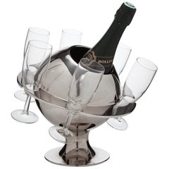Novelty French Modernist Chrome Planet Champagne Cooler, circa 1955-1960