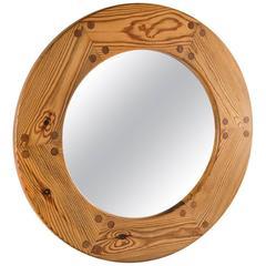 Swedish Mid-Century Round Mirror in Pine