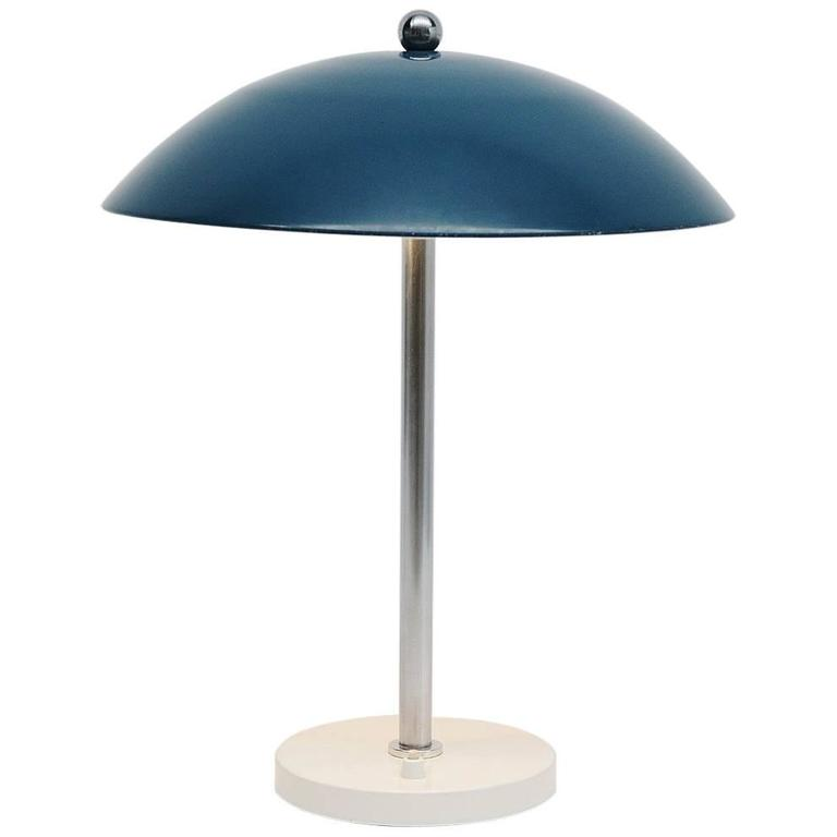 Wim Rietveld Mushroom Table Blue Lamp, Gispen, 1950