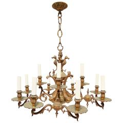 Twelve-Arm French Bronze Grotto Chandelier with Seahorses, Shells and Dolphins