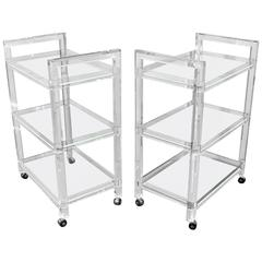 Pair of Rolling Lucite Bar Carts