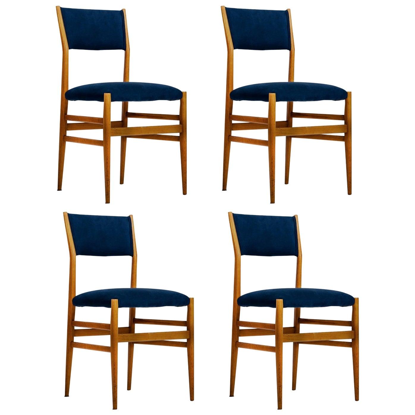 "Gio Ponti Set of four Mid-century Blue Italian Dining Chairs Model ""Leggera"""