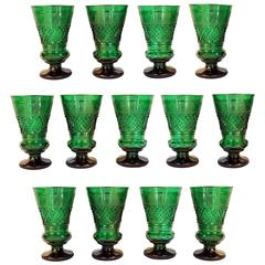 Imperial Set of Antique Emerald Green Crystal Goblets