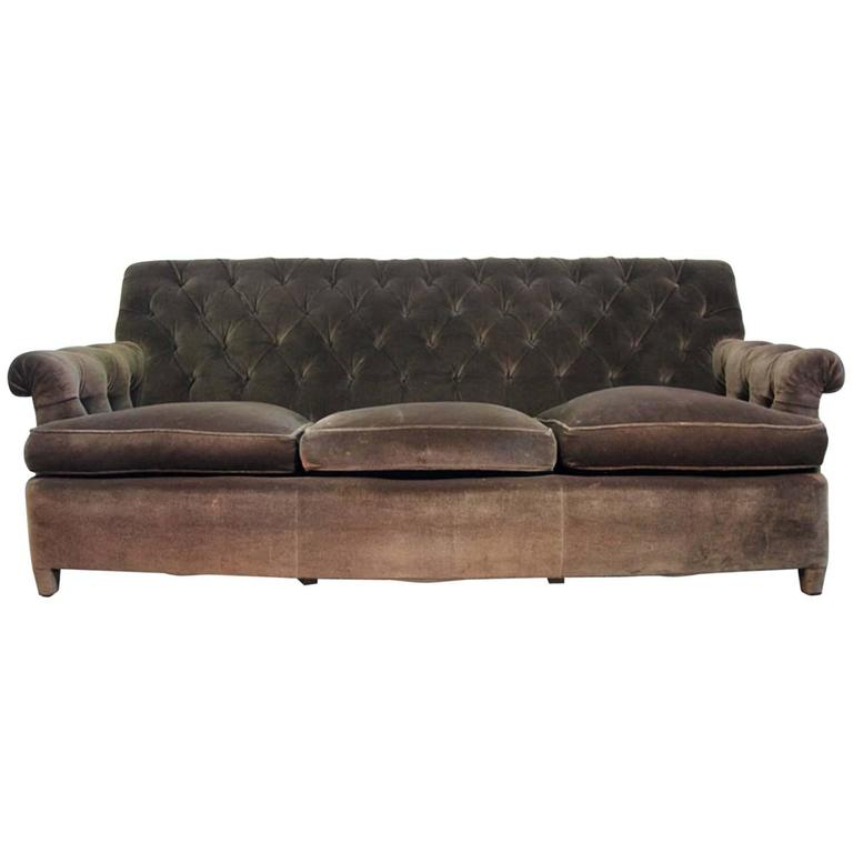 Hollywood regency napoleonic style brown tufted velvet for Tufted couches for sale