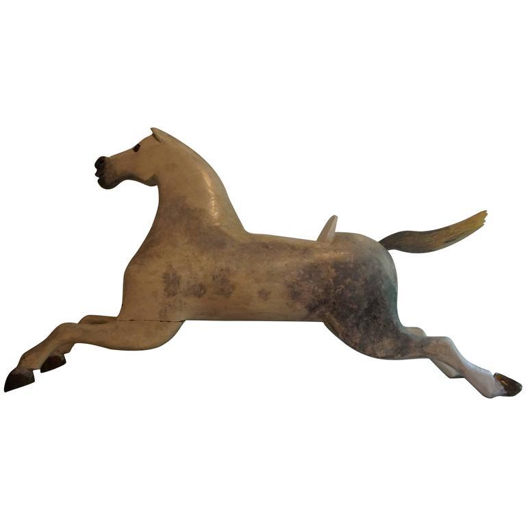 Wooden Children's Rocking Horse, Late 19th Century Folk Art