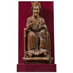 13th Century Carved Oak Virgin and Child