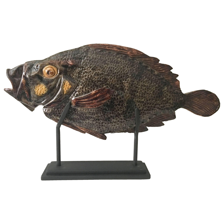 Monumental Majolica Palissy Peter's Fish, circa 1880